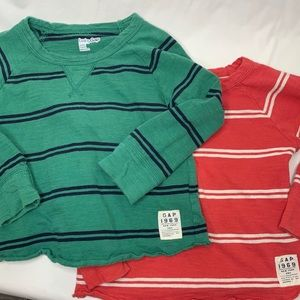 Twin 2T red and green stripe long sleeve shirts